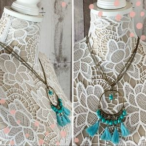 NWT Turquoise blue tassel Dreamcatcher necklace